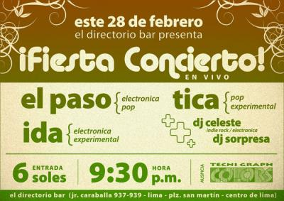 ¡Fiesta Concierto! en El Directorio con Tica, El Paso, Ida, Dj Celeste y Dj Sorpresa